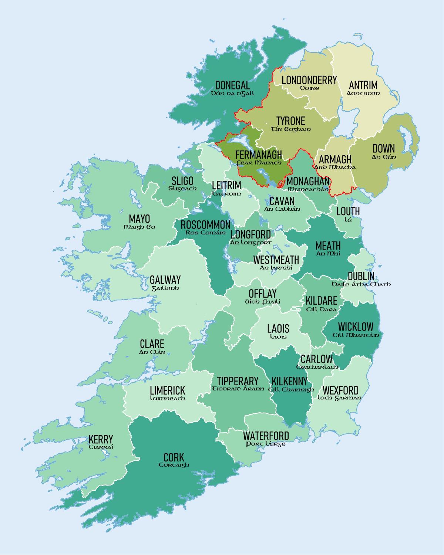 Harta Irlanda Județe și Orașe Arată Harta Irlandei De Județe Pe