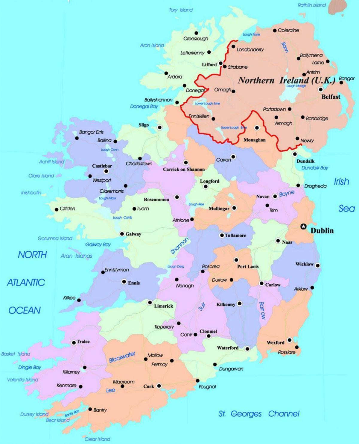 Harta Detaliată A Irlandei Harta Irlandei Europa De Nord Europa